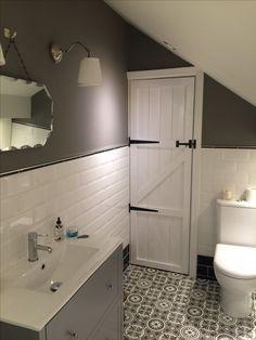 My ensuite bathroom walls painted in Farrow & Ball Moles Breath, ceiling in Poin. My ensuite bathr Bathroom Tiles Pictures, Gray Bathroom Walls, Painting Bathroom Cabinets, Attic Bathroom, Grey Bathrooms, Bathroom Ideas, Grey Walls, Paint Bathroom, 1920s Bathroom