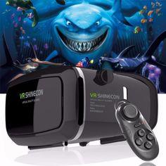 Shinecon Pro Version Google Cardboard VR 3D Glasses +Smart Bluetooth Wireless Remote Control Gamepad