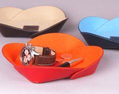 Conjunto de 3 cuero general que engloba todos - regalo idea - diseño de bandejas de cuero - cuero y microfibra tejido - colores: rojo / azul / marrón