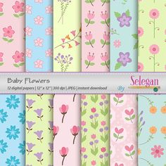 "baby digital paper ""Baby Flowers"" flower digital scrapbook paper blossom printable nature garden floral background instant download by Selegan on Etsy"