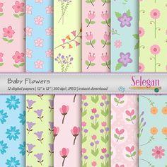 "baby digital paper ""Baby Flowers"" flower digital scrapbook paper blossom printable nature garden floral background instant download by Selegan on Etsy"