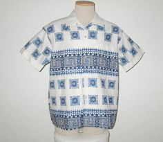 Vintage 1950s Shirt / 50s White Shirt With Blue Design / 50s