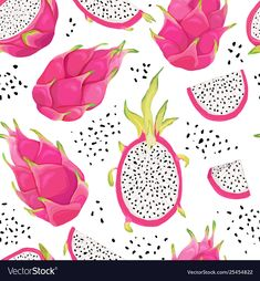 Seamless pattern with dragon fruits, pitaya background. Hand drawn vector illustration in watercolor style for summer romantic cover, tropical wallpaper, vintage texture , Dragon Fruit Drawing, Fruits Drawing, Pitaya, Fruit Sketch, 30 Day Drawing Challenge, Illustrator Tutorials, Adobe Illustrator, Background Drawing, Tropical Wallpaper