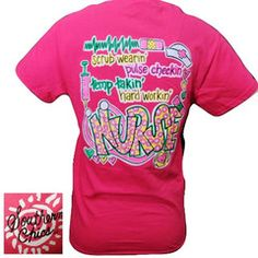 Southern Chics Funny Scrub Wearin Nurse CNA RN Girlie Pink Bright T Sh | SimplyCuteTees