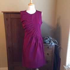 "Jil Sander dress Dark raspberry dress with pleated detail. EUC, worn twice to events. Gorgeous color and cut. Zipper closures at side and neck. Size 40, fits like a large. Please see measurements: Bust 39"", waist 33"", hip 44"" length 39""., Jil Sander Dresses"