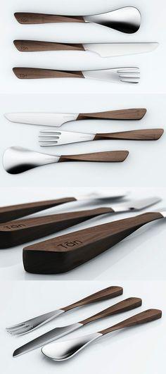 Yanko Design - Wood and metal cutlery Home Design, Küchen Design, Design Creation, Kitchenware, Tableware, Yanko Design, Vintage Design, Wood And Metal, Kitchen Accessories
