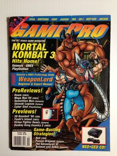 Gamepro October 1995 #gaming #gamer #magazines Gaming Magazines, Video Game Magazines, Retro Video Games, Video Game Art, Mortal Kombat 3, Hit Home, My Magazine, School Games, Fighting Games