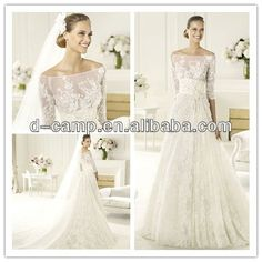 WD-1003 Beautiful scooped neckline off the shoulder 2012 long sleeved wedding dresses