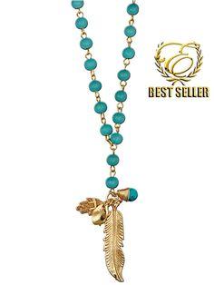 Ettika :: Necklaces :: Rosary :: N073 - Ettika Feather Turquoise Disc & Hamsa Rosary Necklace
