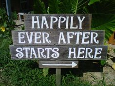 Rustic Wedding Signs Hand painted on Reclaimed Wood...HAPPILY EVERY AFTER Starts here.  Rustic Wedding. Outdoor Wedding Decorations. $110.00, via Etsy.