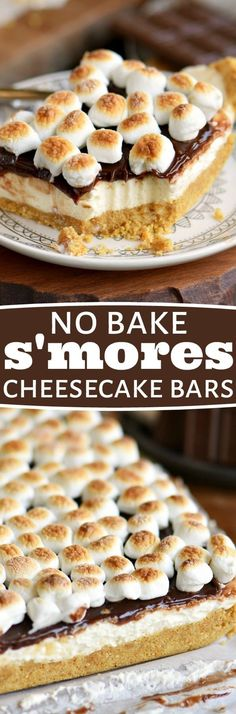 These easy No Bake S'mores Cheesecake Bars are all you could ask for in a summer treat! Loaded with s'mores flavor without the fire OR baking! Just perfect for those hot summer months! // Mom On Timeout