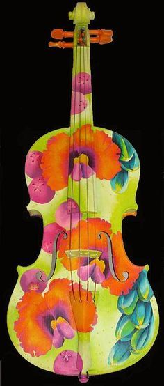 Painted Violin by Elizabeth Elequin - Painted Violin Painting - Painted Violin Fine Art Prints and Posters for Sale Cello Art, Guitar Art, Violin Painting, Violin Instrument, Painted Pianos, Painted Guitars, Cool Violins, Kinds Of Music, Oeuvre D'art