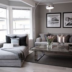 Use these gorgeous modern living room ideas, even if you have a small living room or lounge, as a starting point for your living room design decorating project. Living Room Grey, Living Room Modern, Home Living Room, Apartment Living, Living Room Designs, Small Living, Coastal Living, Cozy Living, Living Room With Bay Window