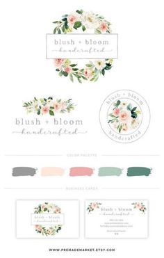 52 Ideas business cars design watercolor flower for 2019 Watercolor Logo, Watercolor Flower, Branding Kit, Branding Design, Branding Ideas, Logo Ideas, Brand Identity, Business Card Logo, Business Card Design