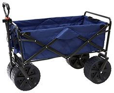 Mac Sports Heavy Duty Collapsible Folding All Terrain Utility Beach Wagon Cart BlueBlack -- Click for Special Deals  #GardeningDeals
