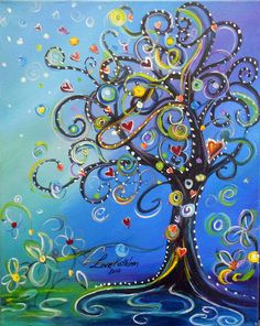 "Original Modern Swirly Whimsical Tree Acrylic Painting SALE -16""x20""inches by…"