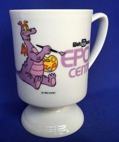 Figment Mug Walt Disney Epcot Center 1982 VTG Purple Dragon Retired Ceramic Cup  #Disney #Footedpedestal
