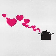 Adesivo de Parede Panela e Coração | Mudo Minha Casa