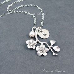 Cherry Blossom Initial Necklace Personalized by RoseAndRaven, $34.50