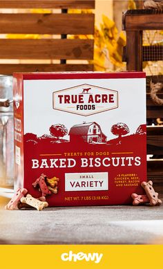 Give your pup the simple goodness of a tasty, crunchy baked treat. True Acre Foods Small Variety Baked Biscuits are baked with care for the crunchy texture and savory flavor dogs love. Plus, they're fortified with 12 vitamins and minerals for even more goodness in every bite. Keep a box in your cupboard for anytime your dog deserves a flavorful reward, or anytime you want to get his tail wagging for a delicious snack. They're great for small dog breeds.