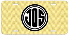 Personalized Monogrammed Chevron Yellow Black Bold License Plate Auto Tag Top Craft Case http://www.amazon.com/dp/B00N024X76/ref=cm_sw_r_pi_dp_Owotub0TQDYRR
