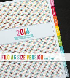 "2014 Everyday Planner Calendar Printable PDF - Fits Filofax A5 Size - 5.75"" x 8.25"" - instant download"