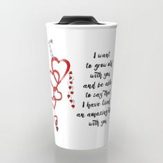 Chained Heart for valentines day Travel Mug love, heart, red, zen, ink, illustration, unique, trendy, girlfriend, boyfriend, wife, husband, lover, friendship, romance, cute, cool, organic, hand made, valentine day, special