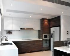 a two tone kitchen i like modern kitchen by S. Home Decor Kitchen, Kitchen Interior, Home Kitchens, Kitchen Design Open, Kitchen Layout, Kitchen Modern, Kitchen Designs, Two Tone Kitchen Cabinets, Island Kitchen