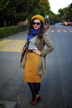 army trench and mustard skirt for fall