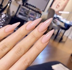 Perfect Nude Stiletto nails via ADRIANA.nails – Care – Skin care , beauty ideas and skin care tips Summer Stiletto Nails, Pointy Nails, Aycrlic Nails, Glitter Nails, Hair And Nails, Toenails, Long Almond Nails, Almond Acrylic Nails, Bling Nails