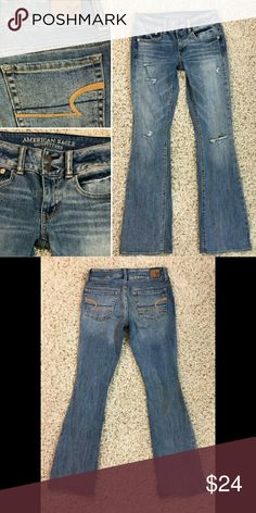"""American Eagle Distressed Jeans Excellent condition.  """"Artist Stretch"""" style. 32"""" inseam. American Eagle Outfitters Jeans Boot Cut"""