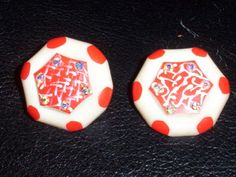 Vintage Red & White Painted Enamel AB Rhinestone beaded Molded Plastic Earrings