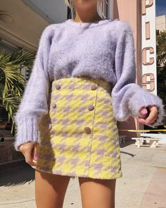 Purple sweater with yellow houndstooth skirt Looks Street Style, Looks Style, My Style, Moda Outfits, Girl Outfits, Aesthetic Fashion, Aesthetic Clothes, Aesthetic Girl, K Fashion
