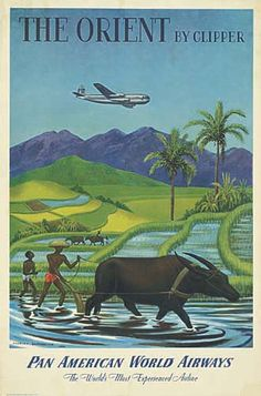 Pan Am - Pan American World Airways - The orient by Clipper - 1949 - artist : Charles Baskerville -