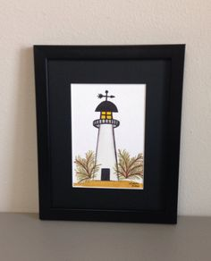 Lighthouse Watercolor Painting Framed by GulfLifebyNichole on Etsy