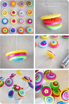 DIY Tutorial: DIY Button Craft / DIY Button flowers - Bead&Cord...... and tons of other DIY things to make with buttons!