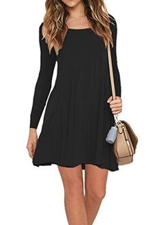 Long Sleeve Women Dress Soild Color Plus Size Pullover Dresses Elegant Girls Casual Dresses Girls Casual Dresses, Elegant Dresses, Sexy Dresses, Dress Casual, Ladies Dresses, Dress Shirts For Women, Clothes For Women, Swing Dress With Pockets, Long Sleeve Tunic Dress