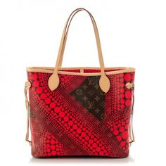 This is an authentic LOUIS VUITTON Monogram Kusama Waves Neverfull MM in Red. This ultra-chic tote is an inspiration from Japanese artist Yoyoi Kusama who has designed a pop pattern of red polkadots over traditional Louis Vuitton monogram on toile canvas for an unforgettable look.