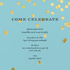 """""""Come Celebrate - Gold on Aqua"""" Invitation, by Kate Spade, Paperless Post"""