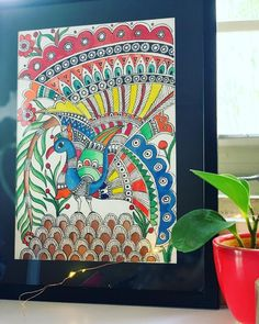 222 Likes, 7 Comments - Art & Soul Madhubani Paintings Peacock, Kalamkari Painting, Madhubani Art, Indian Art Paintings, Small Canvas Paintings, Diy Canvas Art, Gond Painting, Peacock Wall Art, Mandala Art Lesson