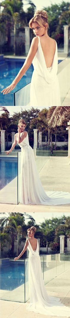 a-line/princess long sleeveless chiffon beach wedding dress