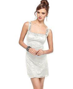Jump Juniors Dress, Sleeveless Beaded Lace Scallop Hem - Dresses - Women - Macy's  reception?