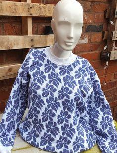 Fair isle sweater, Handmade, Ladies size 42/44 16 -18 white & purple, iris design.
