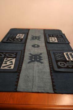 Artesania de Africa. Bordados y telas mantel 4 manteles individuales. índigo