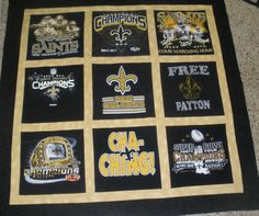 Throw Size quilt I made with a variety of Saints T-Shirts.  Designs in the center of each square have been hand quilted.