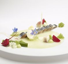 A Recipe by Peter Goossens | FOUR Magazine. sardines, radish, spring onion and cucumber, With goat cheese cream