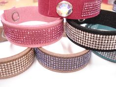 DIY Bracelets made from Suede, SWAROVSKI ELEMENTS banding and snaps by hand tool Love these !  And super easy to make with the new Crystal Applicator Tool, swarovski snaps and swarovski mesh!  All found at www.harmanbeads.com