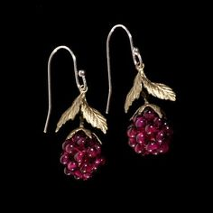 These Raspberry Earrings by Michael Michaud feature raspberry leaves cast in bronze accented with garnet raspberries. Michael Michaud Jewelry is handcrafted in New York City. Available in both Silver Parrot stores. Garnet Jewelry, Beaded Jewelry, Fine Jewelry, Jewelry Accessories, Jewelry Design, Designer Jewelry, Antique Brooches, Schmuck Design, Jewelry Crafts