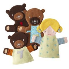 Goldilocks and Three Bears Hand Puppets (Set of 4) - could totally make these for cheaper