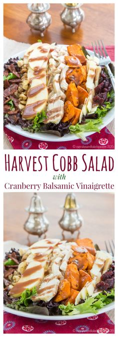 Harvest Cobb Salad with Cranberry Balsamic Vinaigrette - perfect for using up Christmas or Thanksgiving leftovers, or just make it because it's so good! #spon | cupcakesandkalechips.com | gluten free recipe